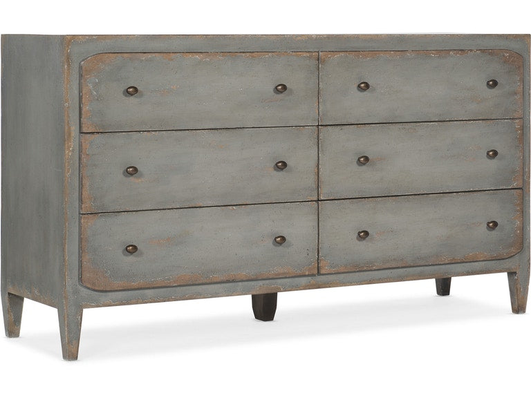 Ciao Bella Six-Drawer Dresser- Speckled Gray
