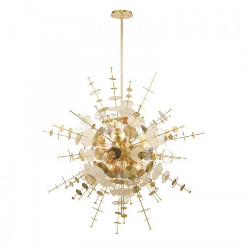 Circulo 12 Light Satin Brass Grand Foyer Pendant Chandelier, Lighting, Laura of Pembroke