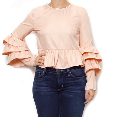 Long Sleeve Ruffle Sleeve Blouse