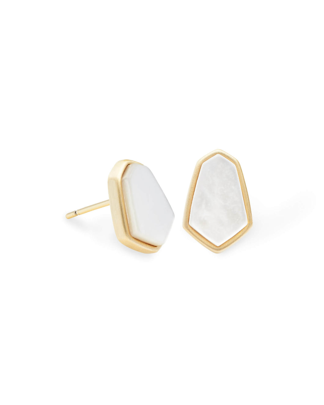 Clove Gold Stud Earrings In Ivory Pearl