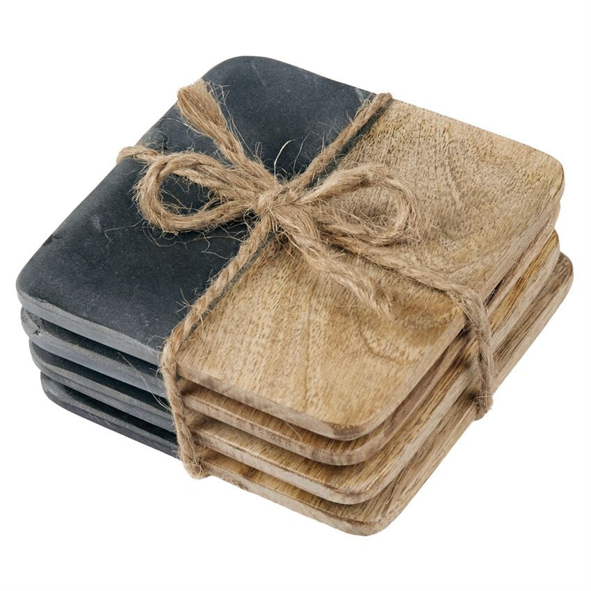 Slate Wood Coaster Set, Gifts, Mud Pie, Laura of Pembroke