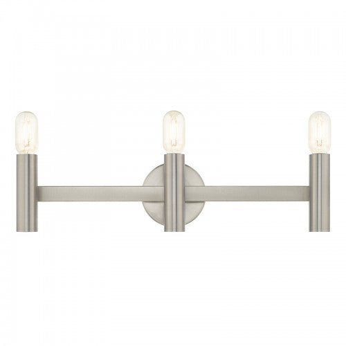 Copenhagen 3 Light Brushed Nickel Bath Vanity, Lighting, Laura of Pembroke