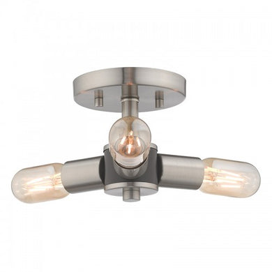 Copenhagen 3 Light Brushed Nickel Ceiling Mount, Lighting, Laura of Pembroke