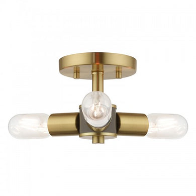 Copenhagen 3 Light Satin Brass Ceiling Mount, Lighting, Laura of Pembroke
