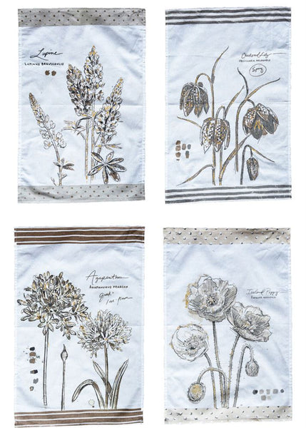 Cotton Tea Towel with Floral Image