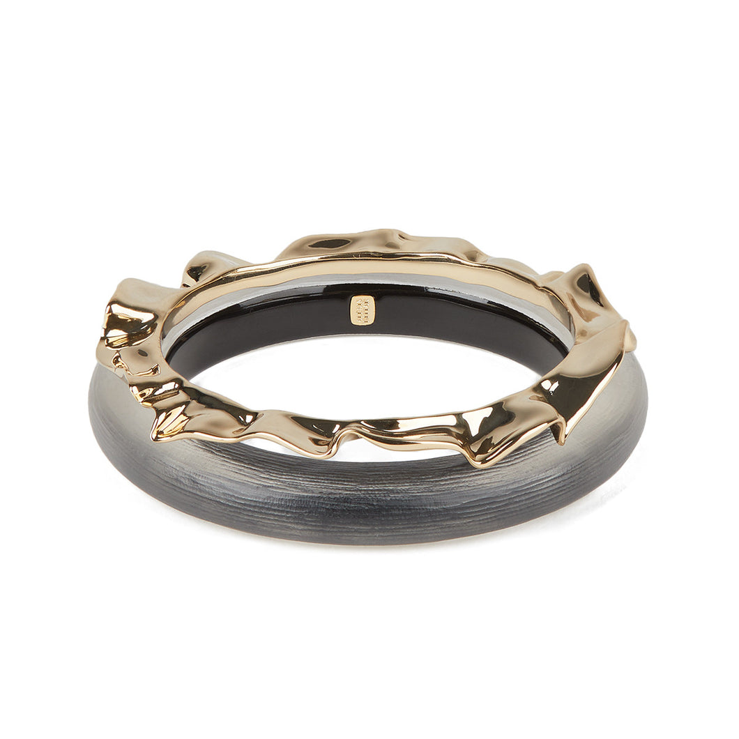 Crumpled Metal Bangle Bracelet Set