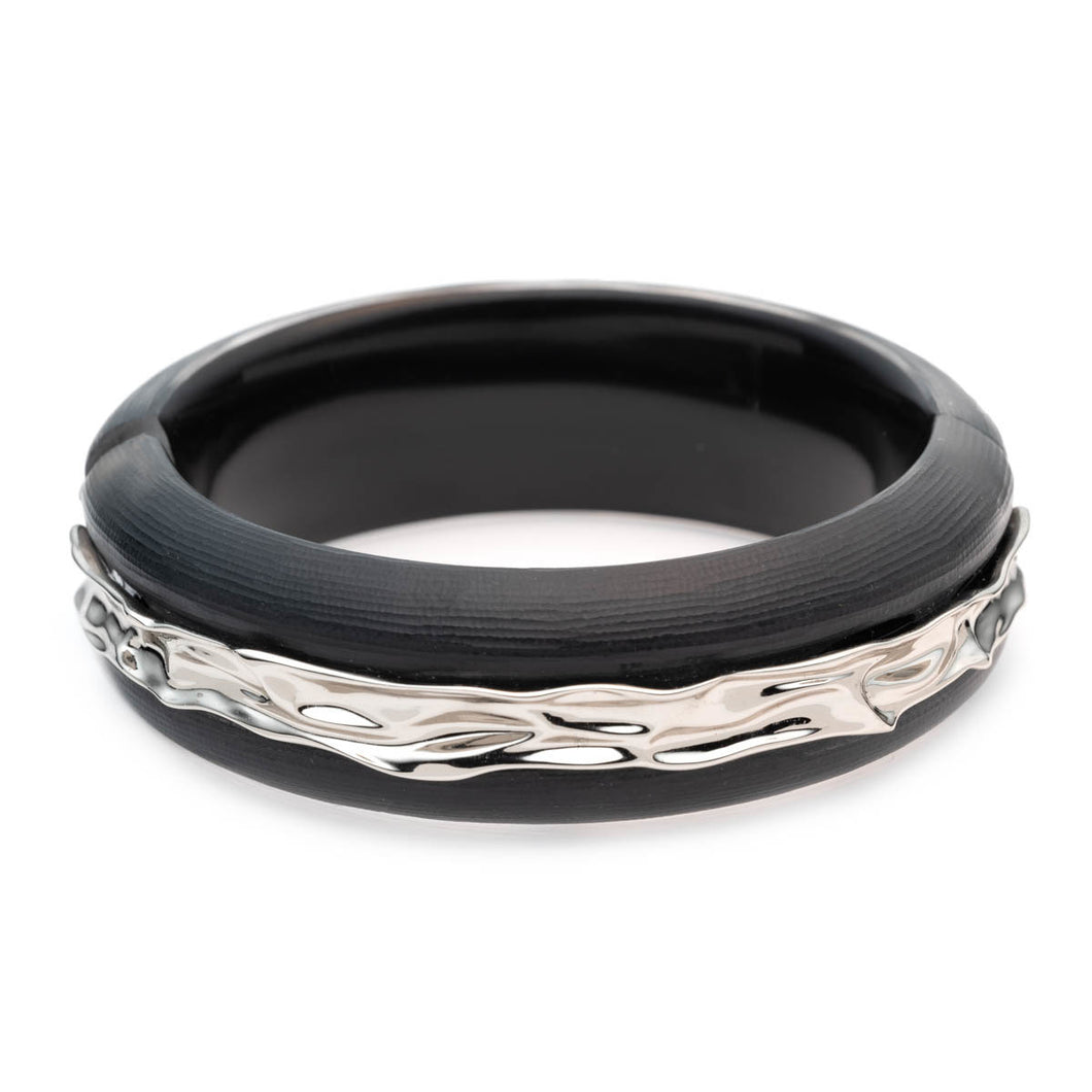 Crumpled Rhodium Inlay Hinge Bracelet