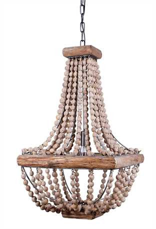 Square Wood Bead Chandelier, Lighting, Laura of Pembroke