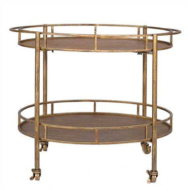Gold Metal Bar Cart on Casters