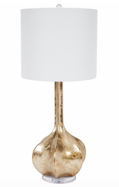 DISTRESSED CHAMPAGNE SILVER ALEX TABLE LAMP WITH WHITE LINEN SHADE