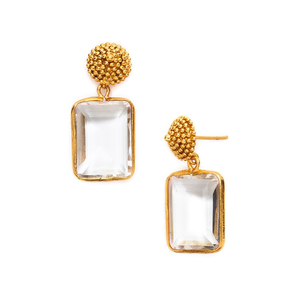 D'Argent Cap And Post Earring Gold Clear Crystal, Women's Accessories, Julie Vos, Laura of Pembroke