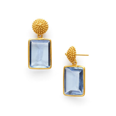 D'Argent Earring Gold Clear Chalcedony Blue