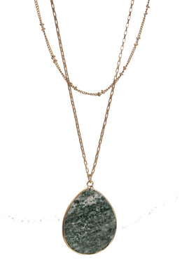 Double layer chain necklace with Semi-Precious Green Jasper pendant.