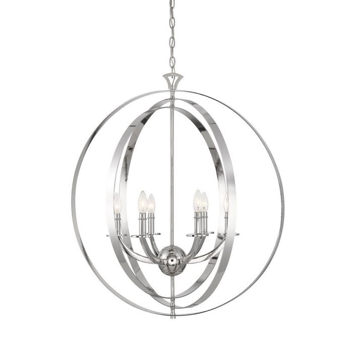 Dumont 6 Light Polished Nickel Pendant