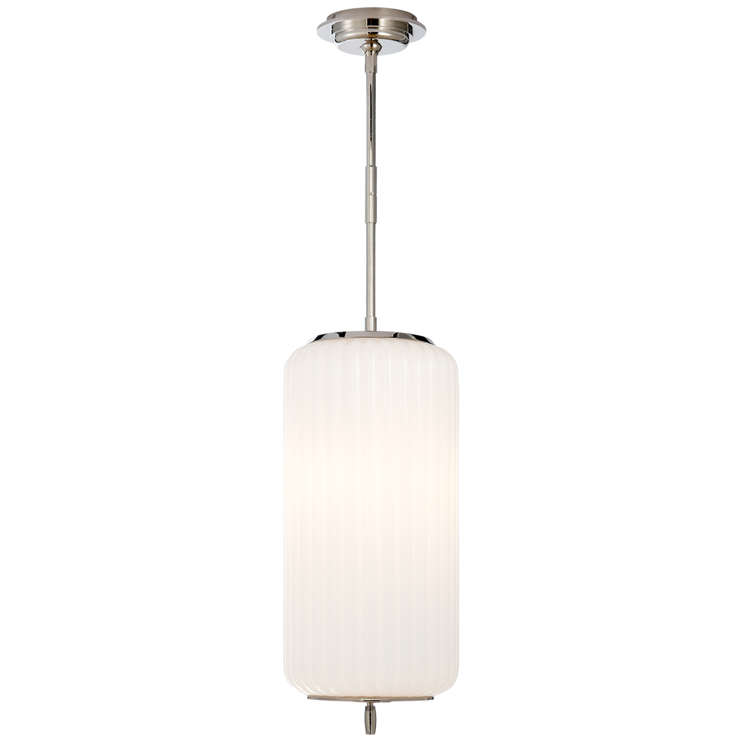 Eden Medium Pendant in Polished Nickel with White Glass
