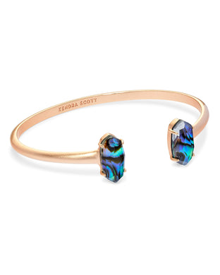 Edie Rose Gold Cuff Bracelet In Abalone Shell