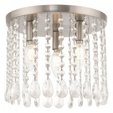 Elizabeth 3 Light Brushed Nickel Ceiling Mount, Lighting, Laura of Pembroke