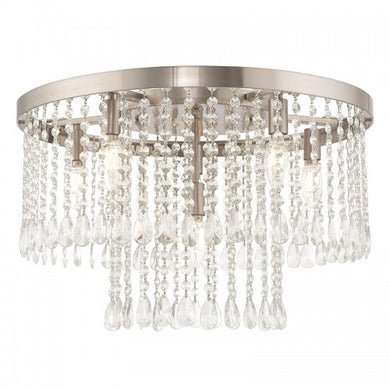 Elizabeth 6 Light Brushed Nickel Ceiling Mount, Lighting, Laura of Pembroke