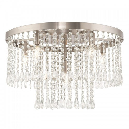 Elizabeth 6 Light Brushed Nickel Ceiling Mount
