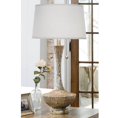 Embossed Silver Vessel Table Lamp, Home Accessories, Laura of Pembroke