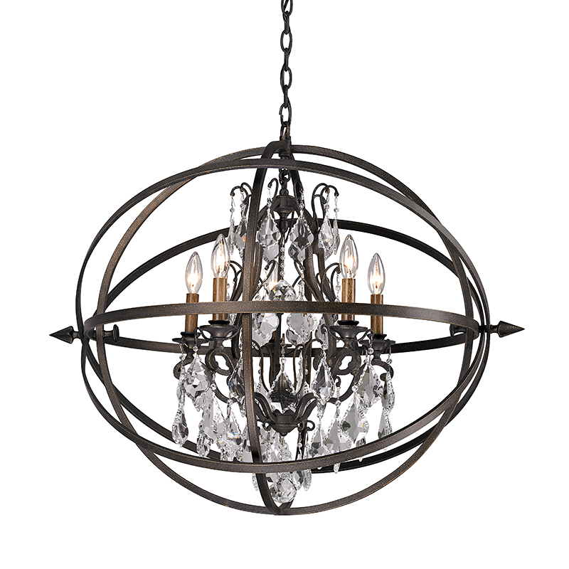 Vintage Bronze and Crystal Medium Chandelier