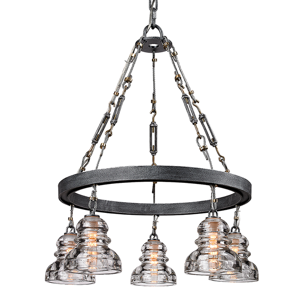 Menlo Park Old Silver 5 Light Chandelier