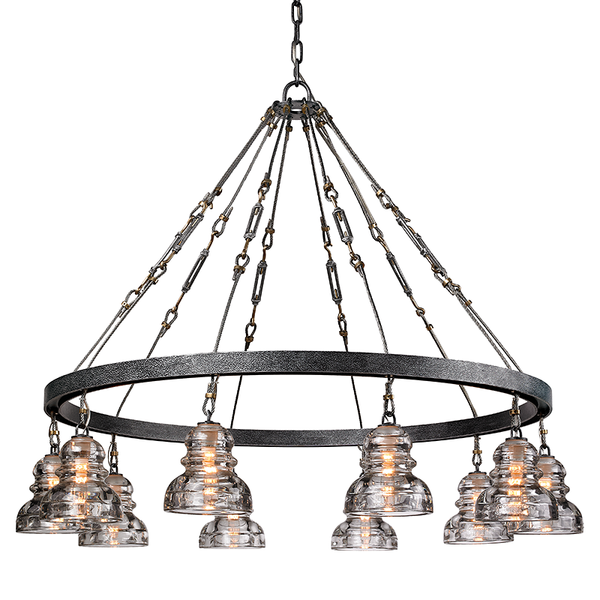 Menlo Park Old Silver 10 Light Chandelier