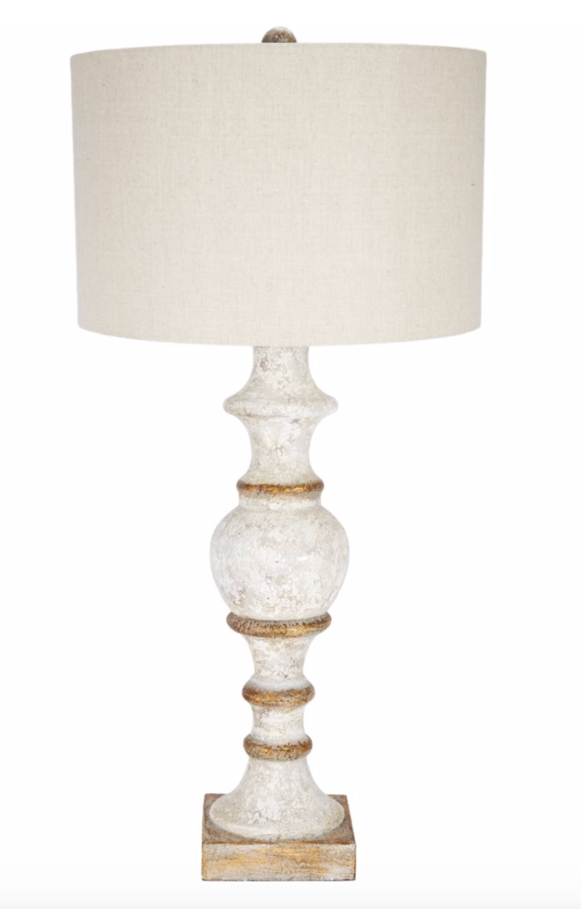 FRENCH WHITE & GOLD ACCENTED SPINDLE LAMP WITH LIGHT LINEN BARREL SHADE