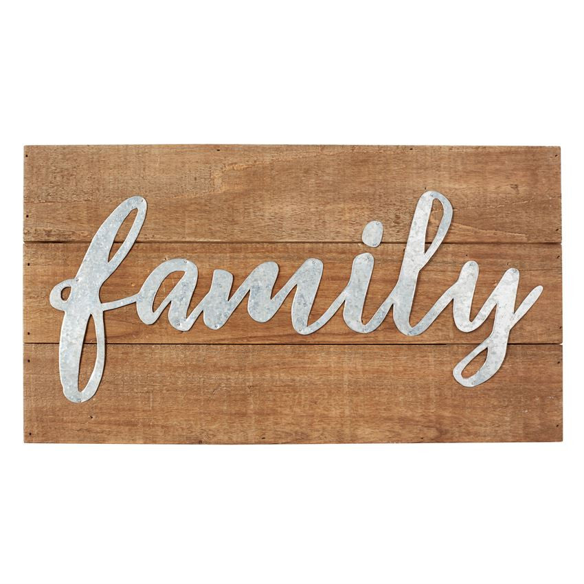 Family Wood Metal Script Plaque
