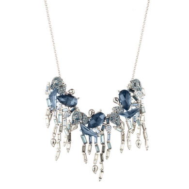 Fancy Stone Cluster Bib Necklace with Ombre Crystal Baguette Fringe