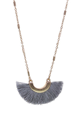 Fan shaped tassel necklace.