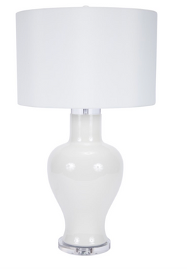 GLOSSY WHITE TUCKER TABLE LAMP WITH ACRYLIC ACCENTS & WHITE BARREL SHADE