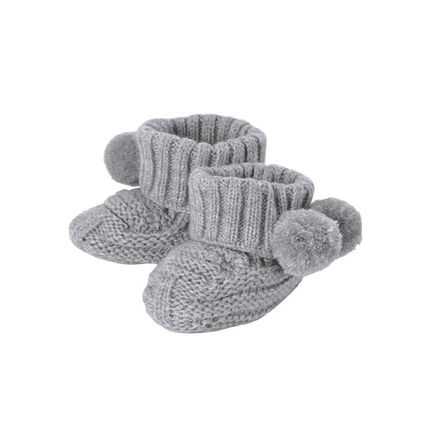 Gray Pom-Pom Knit Booties