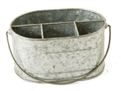 Galvanized Metal Caddy w/ 4 Compartments