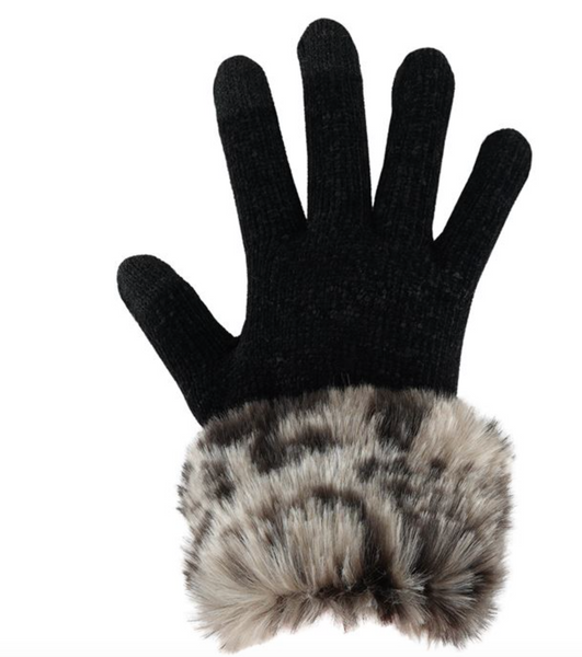 Ghost Leopard Faux Fur Trimmed Tech Glove