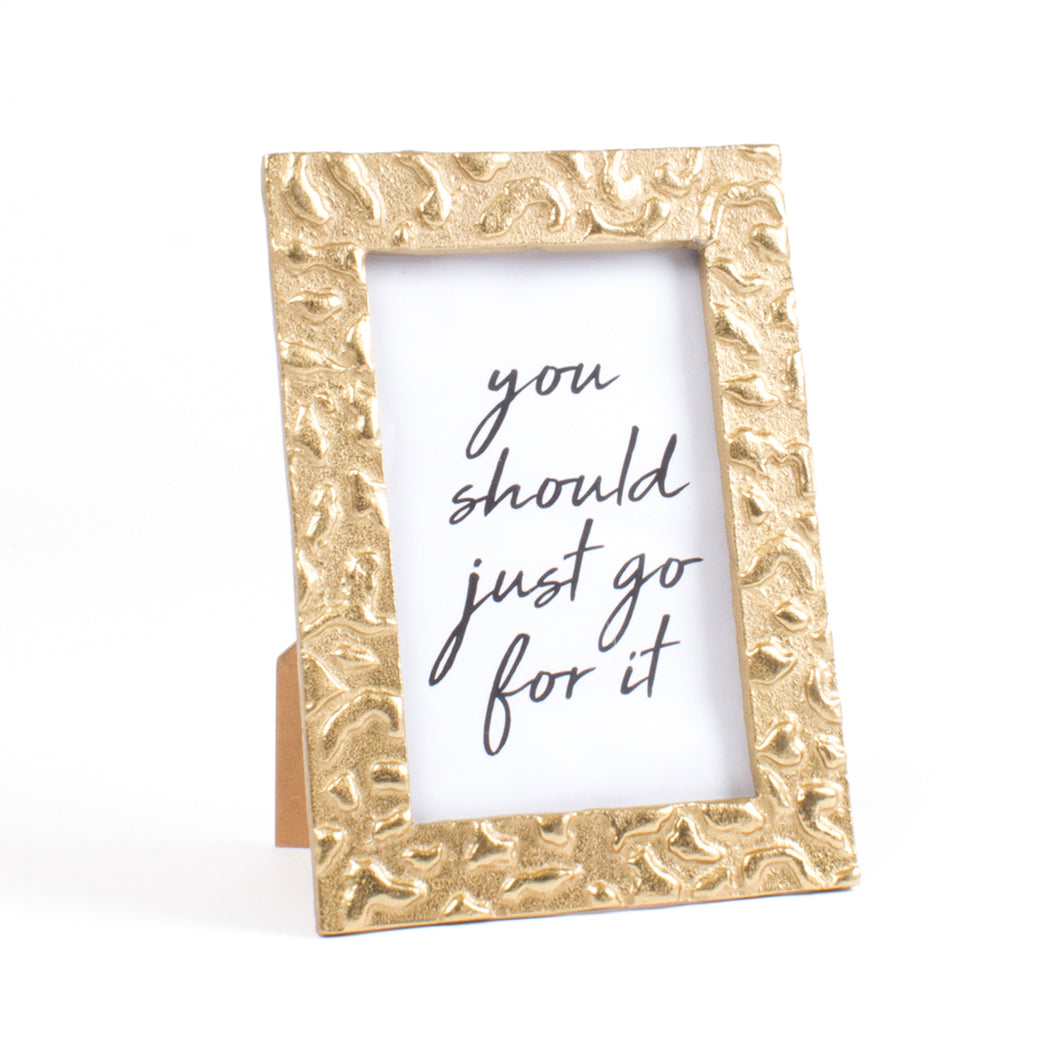 Gold Embossed Leopard Print 4x6 Picture Frame