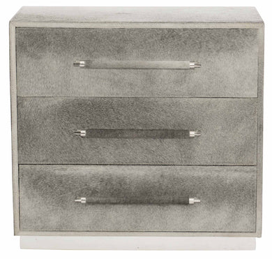 Gray Hair-on-Hide 3 Drawer Nightstand, Home Furnishings, Laura of Pembroke