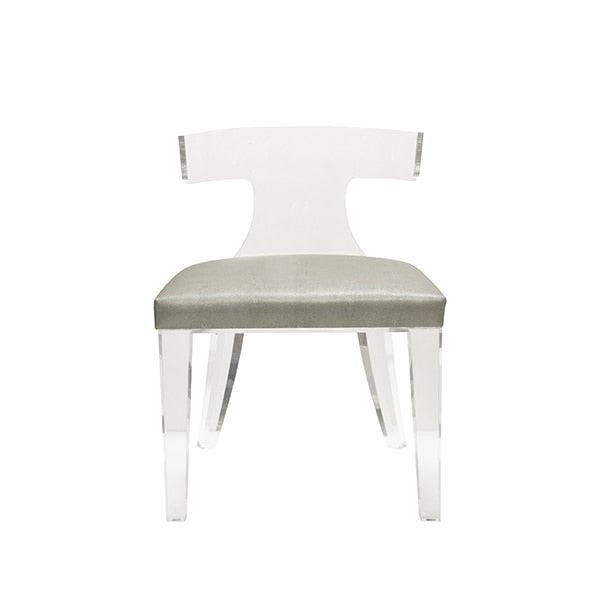 Acrylic Chair with Grey Cushion