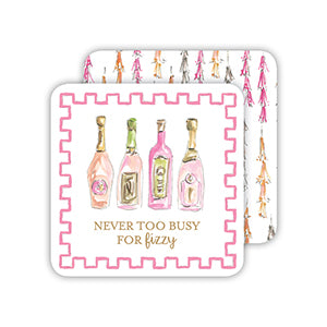 Handpainted 'Never Too Busy for Fizzy' paper coasters