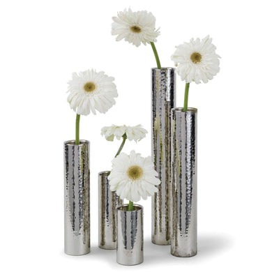 Hammered Bud Vase Set - Silver