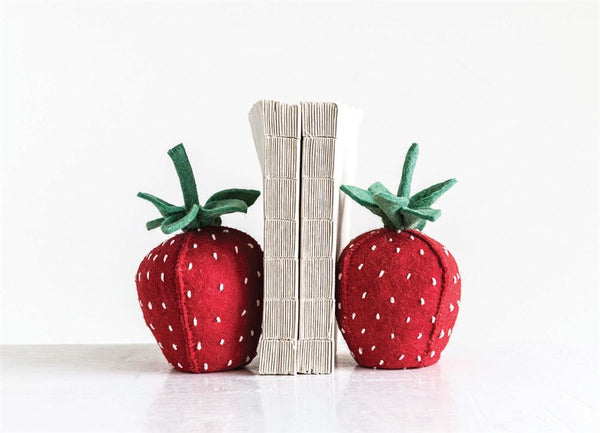 Handmade Wool Felt Strawberry Bookends, Red & Green