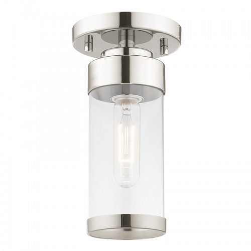 Hillcrest 1 Light Polished Chrome Ceiling Mount, Lighting, Laura of Pembroke