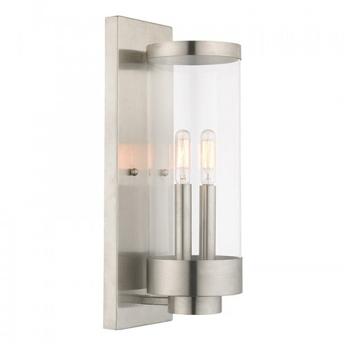 Hillcrest 2 Light Brushed Nickel Wall Lantern, Lighting, Laura of Pembroke