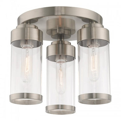 Hillcrest 3 Light Brushed Nickel Ceiling Mount, Lighting, Laura of Pembroke