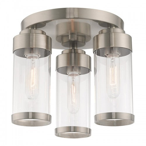 Hillcrest 3 Light Brushed Nickel Ceiling Mount