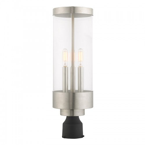 Hillcrest 3 Light Brushed Nickel Post Top Lantern, Lighting, Laura of Pembroke