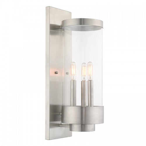 Hillcrest 3 Light Brushed Nickel Wall Lantern, Lighting, Laura of Pembroke
