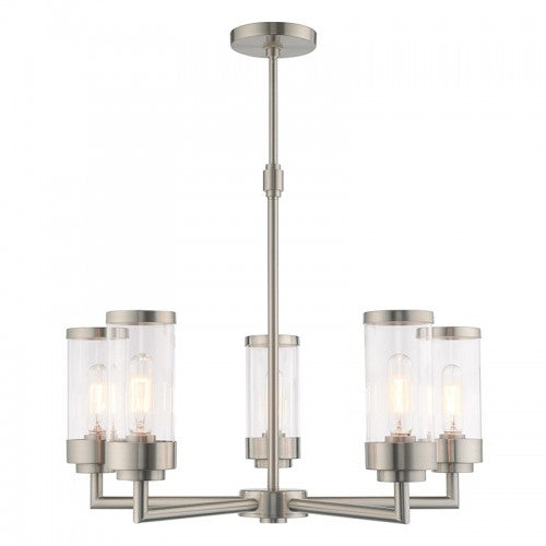 Hillcrest 5 Light Brushed Nickel Chandelier, Lighting, Laura of Pembroke