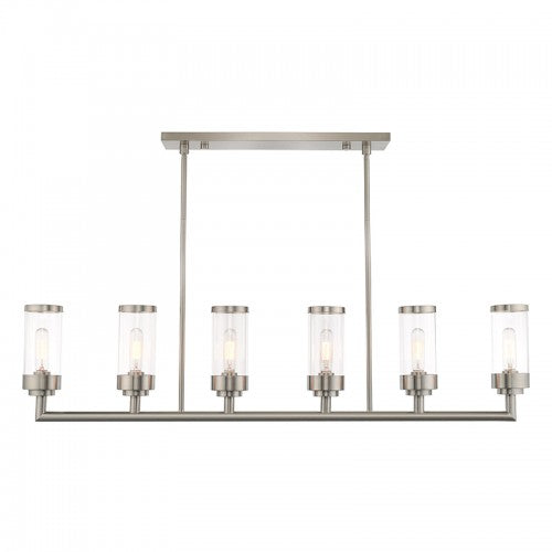 Hillcrest 6 Light Brushed Nickel Linear Chandelier