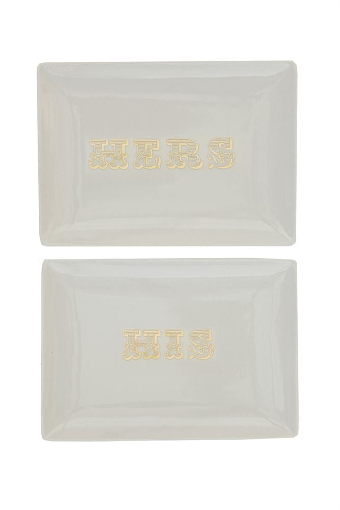 Stoneware Plate with Gold His/Hers Decal